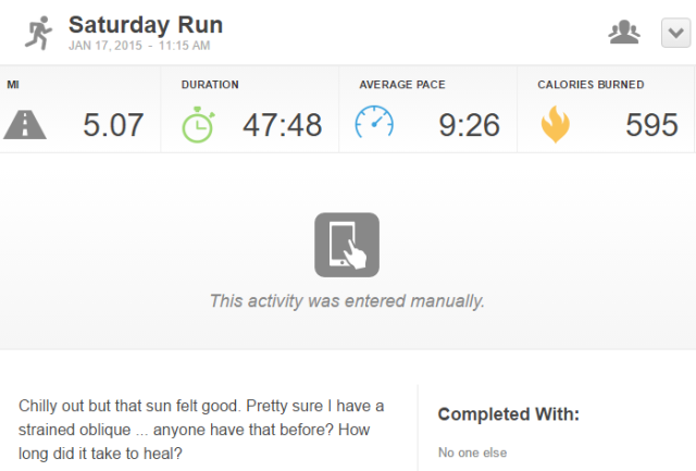 Runkeeper run dashboard